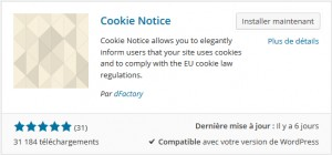 Extension Cookie Notice pour WordPress