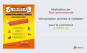 Flyer promotionnel pour le magasin d'alimentation animale A NÎMES AL