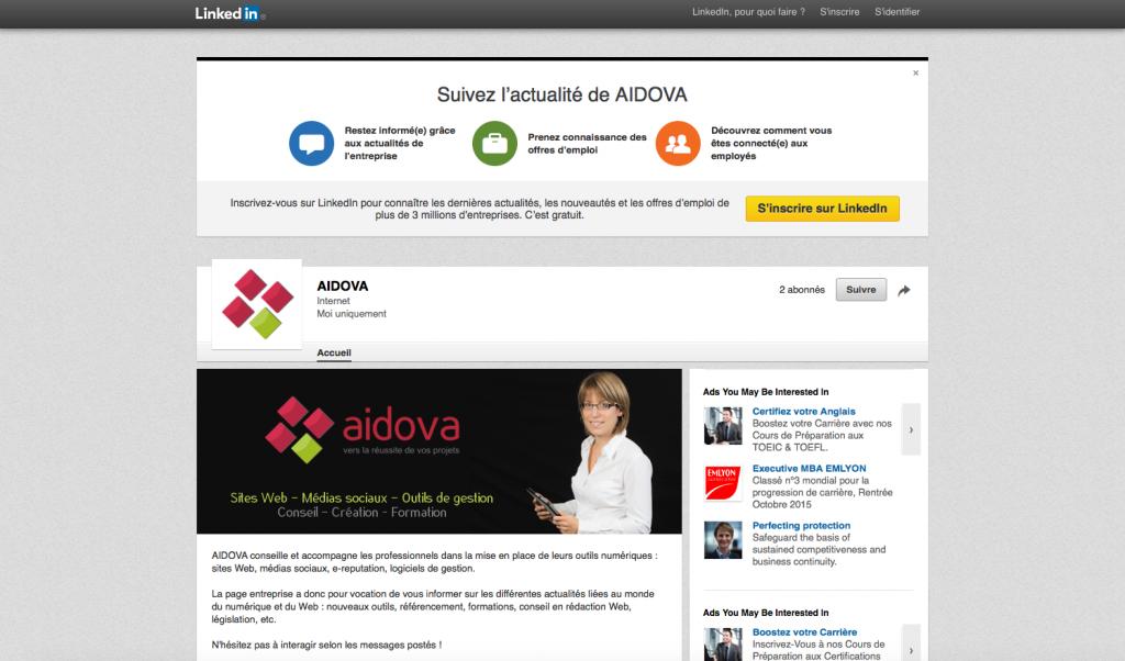 Bannière d'accueil d'Aidova sur sa page professionnelle LinkedIn