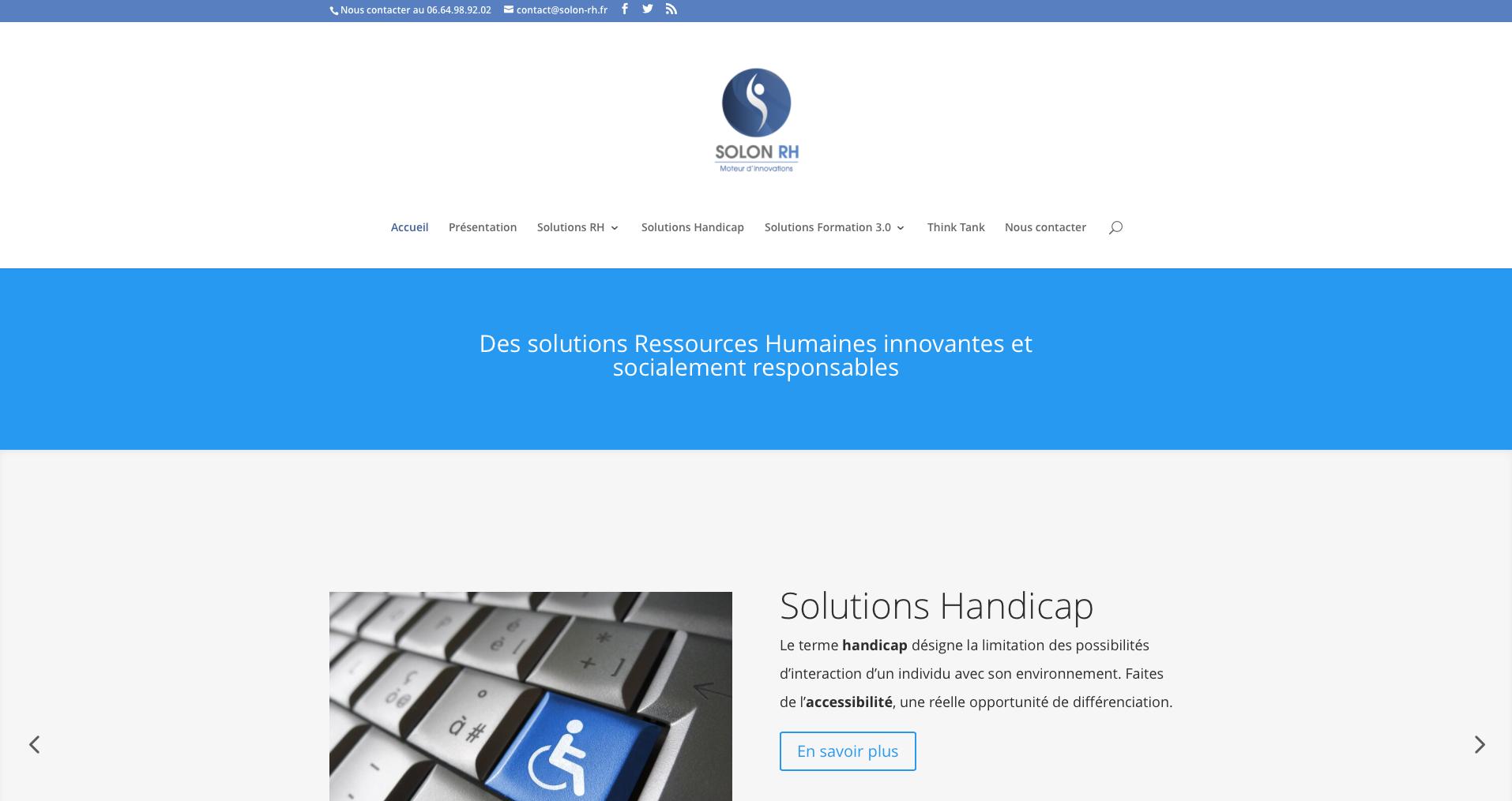 Site Web responsive Solon RH : solutions Ressources Humaines, Accessibilité et Formation 3.0