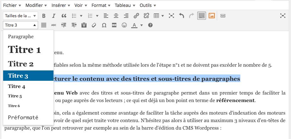 Les en-têtes de titres de vos paragraphes facilitent le bon référencement de votre site WordPress