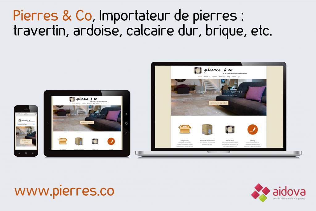 Refonte du site web Pierres & Co, importateur de pierres, par Aidova